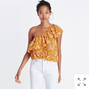 Madewell silk one shoulder top